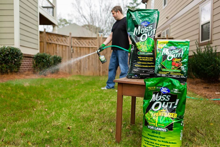 Moss Out! products in yard, near homeowner using on lawn