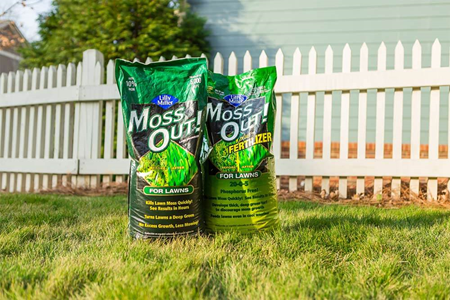 Moss Out! products on yard